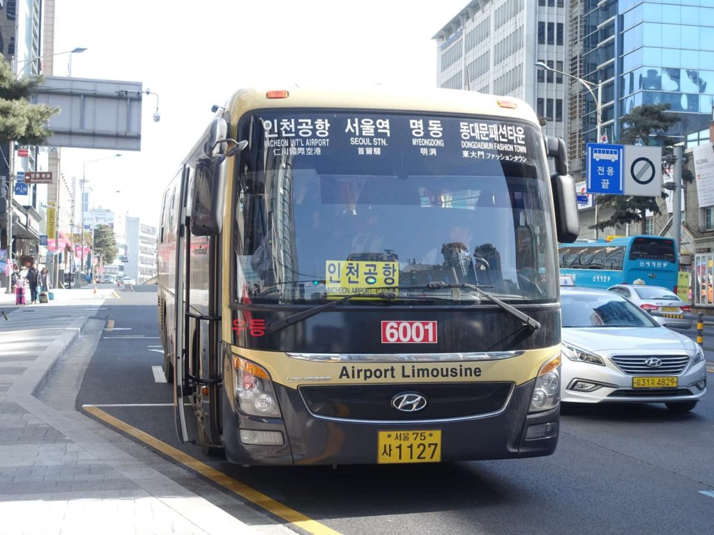 仁川空港 明洞 バス リムジンバス 空港バス 乗り方 6001 6015 6021